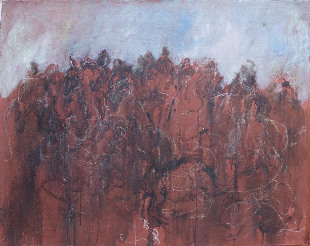 Bozzettone di battaglia - olio su tela - 1983 (81x100cm)