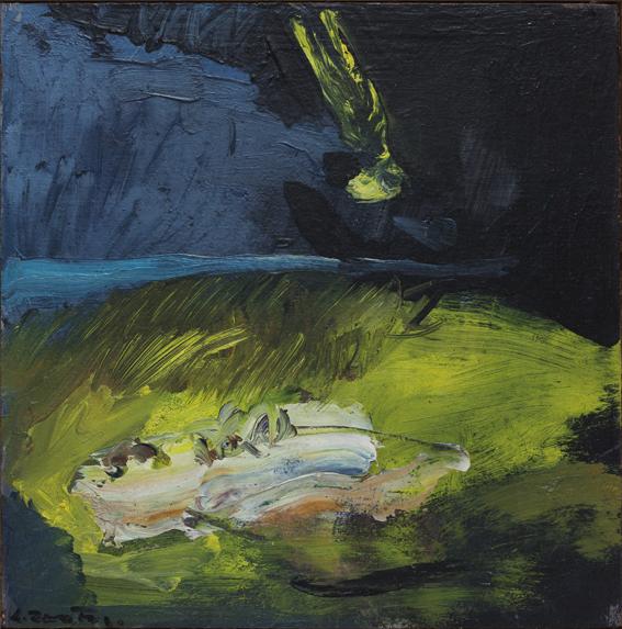 Evento per Zaira 1988, olio su tavola, cm. 23 x 23