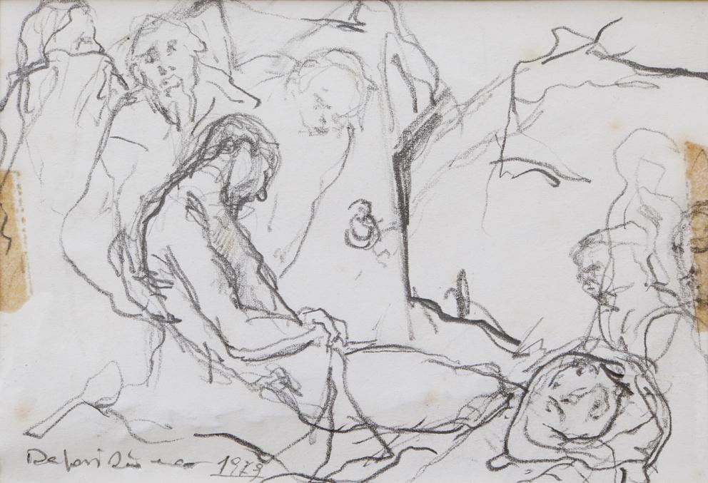 Pietà - deposizione 1979, matita su carta mm. 130 x 100