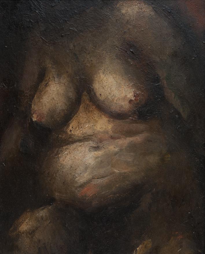 In studio da Tito, 1973, olio su tavola, 29,5x23,5