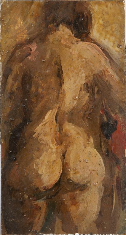 Nudo di schiena, 1968, olio su tavola, 6x11