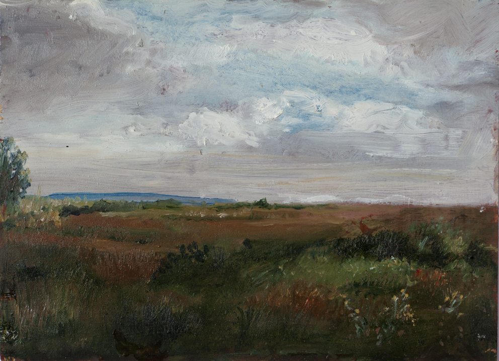 Paesaggio toscano, 1969, olio su tavola, 28,5x21