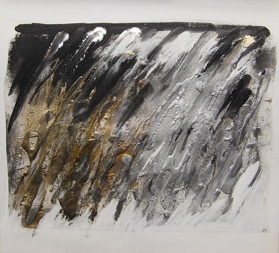 Evento, 2008, tempera magra e metalli su carta, 30x30
