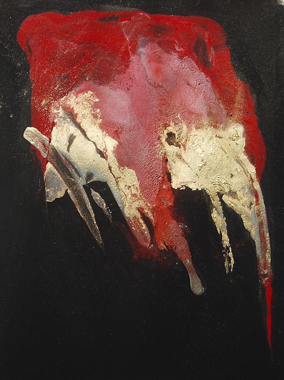 Evento rosso, 2008, tempera magra e metalli su carta, 25x30