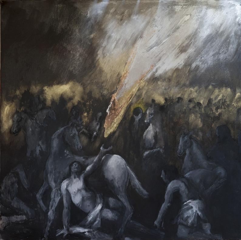 Grande conversione di Paolo, 2014, morgan's paint e metalli su tela, 200x200